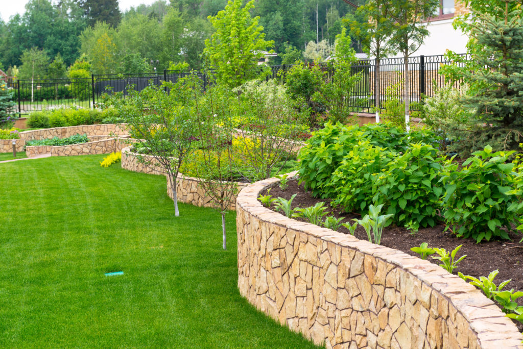 A commercial landscape with plants and trees and retaining walls