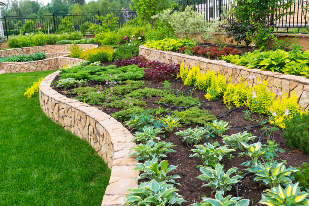 Retaining walls and landscaping layout